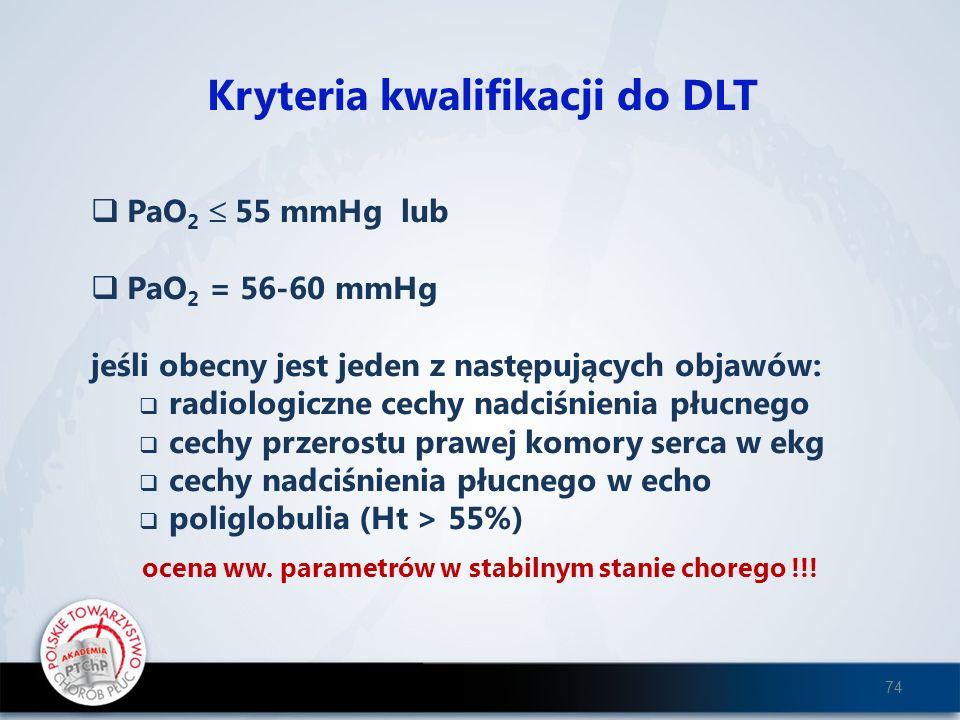 Kryteria kwalifikacji do DLT PaO 2 55 mmHg lub PaO 2 = 56-60 mmHg jeśli obecny jest jeden z następujących objawów: radiologiczne cechy nadciśnienia pł