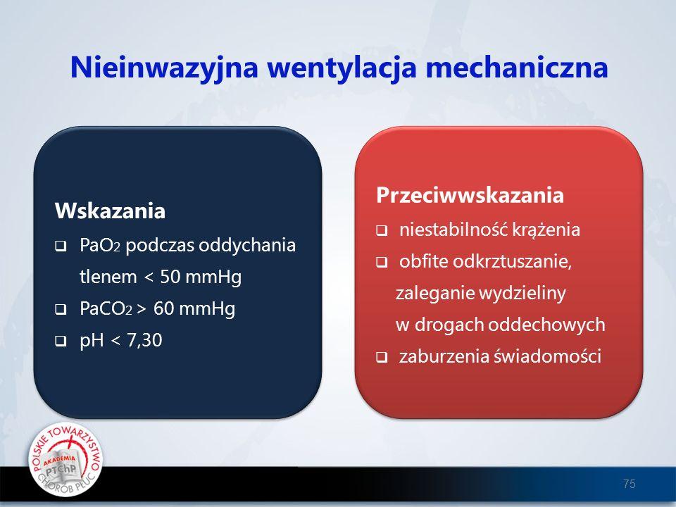 Nieinwazyjna wentylacja mechaniczna Wskazania PaO 2 podczas oddychania tlenem < 50 mmHg PaCO 2 > 60 mmHg pH < 7,30 Wskazania PaO 2 podczas oddychania