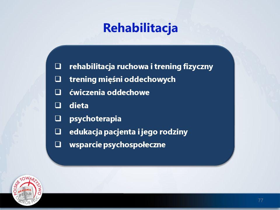 Rehabilitacja rehabilitacja ruchowa i trening fizyczny trening mięśni oddechowych ćwiczenia oddechowe dieta psychoterapia edukacja pacjenta i jego rod