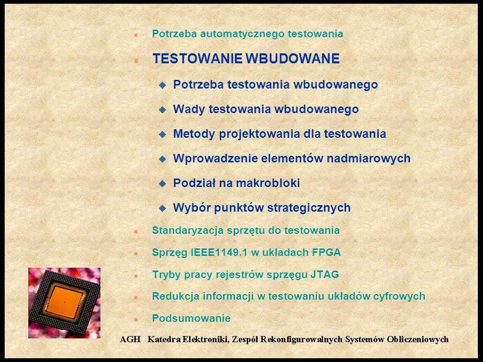 n Potrzeba automatycznego testowania n TESTOWANIE WBUDOWANE u Potrzeba testowania wbudowanego u Wady testowania wbudowanego u Metody projektowania dla