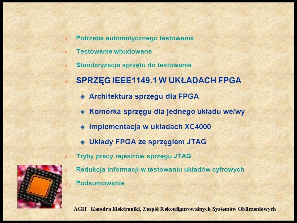 n Potrzeba automatycznego testowania n Testowanie wbudowane n Standaryzacja sprzętu do testowania n SPRZĘG IEEE1149.1 W UKŁADACH FPGA u Architektura sprzęgu dla FPGA u Komórka sprzęgu dla jednego układu we/wy u Implementacja w układach XC4000 u Układy FPGA ze sprzęgiem JTAG n Tryby pracy rejestrów sprzęgu JTAG n Redukcja informacji w testowaniu układów cyfrowych n Podsumowanie