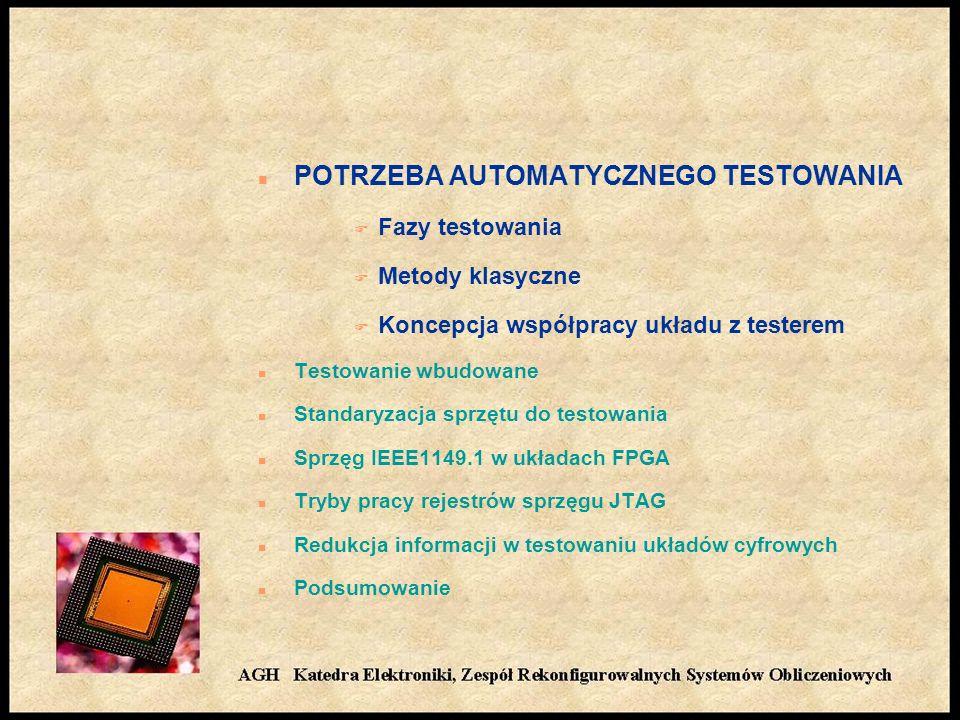n POTRZEBA AUTOMATYCZNEGO TESTOWANIA F Fazy testowania F Metody klasyczne F Koncepcja współpracy układu z testerem n Testowanie wbudowane n Standaryzacja sprzętu do testowania n Sprzęg IEEE1149.1 w układach FPGA n Tryby pracy rejestrów sprzęgu JTAG n Redukcja informacji w testowaniu układów cyfrowych n Podsumowanie