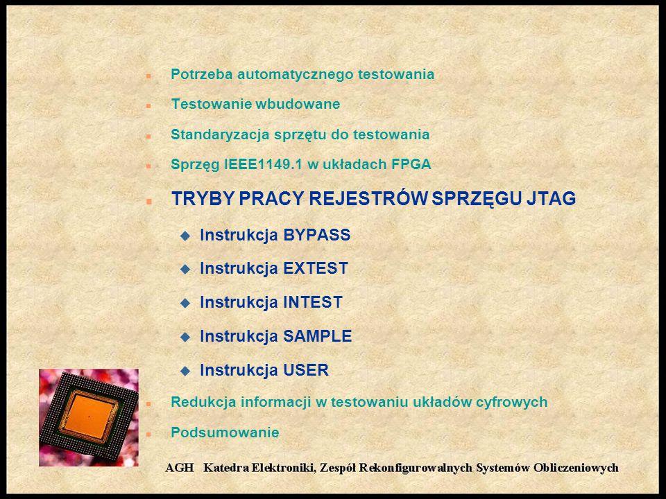n Potrzeba automatycznego testowania n Testowanie wbudowane n Standaryzacja sprzętu do testowania n Sprzęg IEEE1149.1 w układach FPGA n TRYBY PRACY REJESTRÓW SPRZĘGU JTAG u Instrukcja BYPASS u Instrukcja EXTEST u Instrukcja INTEST u Instrukcja SAMPLE u Instrukcja USER n Redukcja informacji w testowaniu układów cyfrowych n Podsumowanie