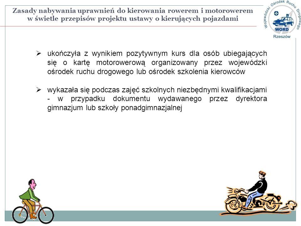 Zasady nabywania uprawnień do kierowania rowerem i motorowerem w świetle przepisów projektu ustawy o kierujących pojazdami ukończyła z wynikiem pozyty