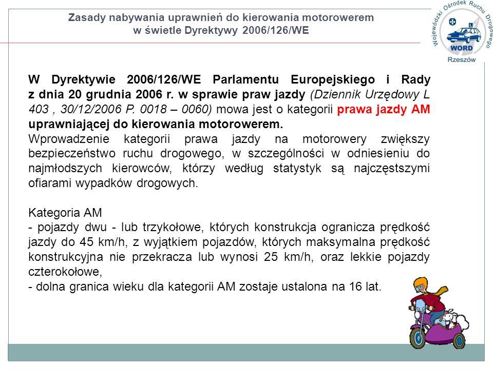 W Dyrektywie 2006/126/WE Parlamentu Europejskiego i Rady z dnia 20 grudnia 2006 r. w sprawie praw jazdy (Dziennik Urzędowy L 403, 30/12/2006 P. 0018 –