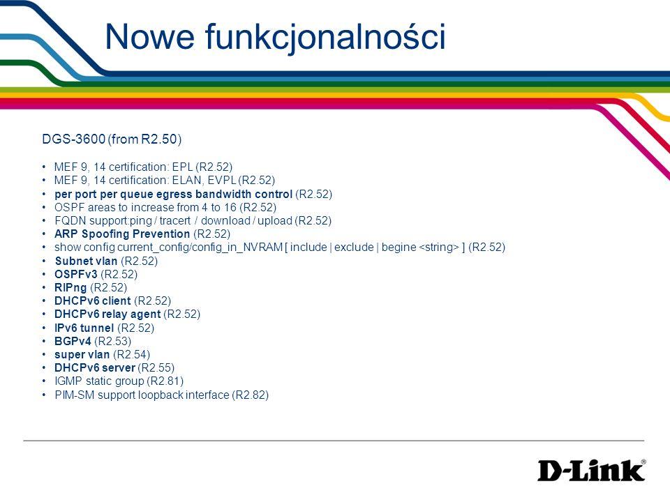 Nowe funkcjonalności DGS-3600 (from R2.50) MEF 9, 14 certification: EPL (R2.52) MEF 9, 14 certification: ELAN, EVPL (R2.52) per port per queue egress