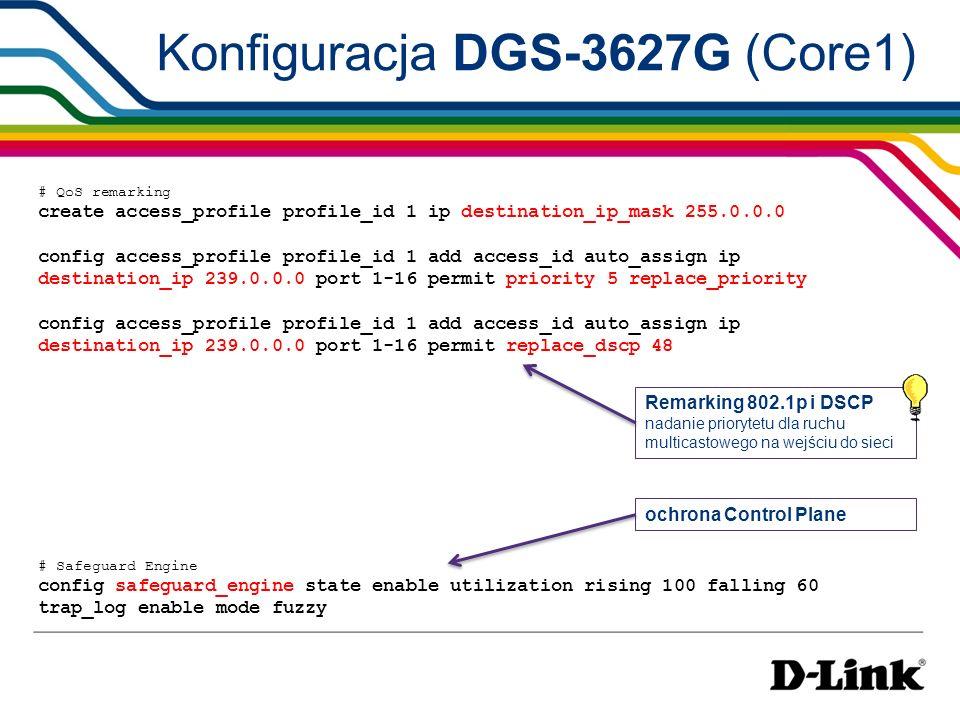 Konfiguracja DGS-3627 (Core2) config command_prompt core_2 # usunięcie wszystkich portów z VLAN ID 1 config vlan default delete 1-27 # polaczenie core2-core1 create vlan v123 tag 123 config vlan v123 add tagged 13 config ipif System ipaddress 192.168.2.2/24 vlan v123 # polaczenie core2-core3 create vlan v125 tag 125 config vlan v125 add tagged 21 create ipif v125 192.168.6.1/24 v125 # VLAN dla internetu do klientów create vlan internet tag 200 config vlan internet add tagged 1-12 create ipif internet 192.168.4.1/24 internet