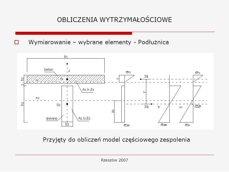 Rzeszów 2007 OBLICZENIA WYTRZYMAŁOŚCIOWE Naprężenia rozciągające w dolnej części dźwigara 2N =4,06 MPa < 0,85 R dt =17,85 MPa Naprężenia od ściskania i zginania w części drewnianej dźwigara 2M =28,24 MPa < 0,85 R dm =29,75 MPa Naprężenia w płycie 1r =6,65 MPa < R b1 =20,2 MPa Element Wieszak Dźwigar łukowy Rygiel Zastrzał Poprzecznica podporowa Wspornik poprzecznicy podporowej Poprzecznica przęsłowa Podłużnica