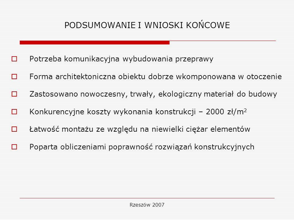 Rzeszów 2007 PODSUMOWANIE I WNIOSKI KOŃCOWE Potrzeba komunikacyjna wybudowania przeprawy Forma architektoniczna obiektu dobrze wkomponowana w otoczeni