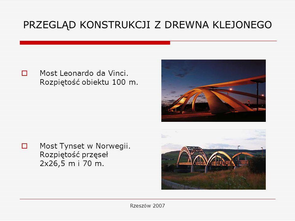 Rzeszów 2007 PRZEGLĄD KONSTRUKCJI Z DREWNA KLEJONEGO Most Leonardo da Vinci. Rozpiętość obiektu 100 m. Most Tynset w Norwegii. Rozpiętość przęseł 2x26