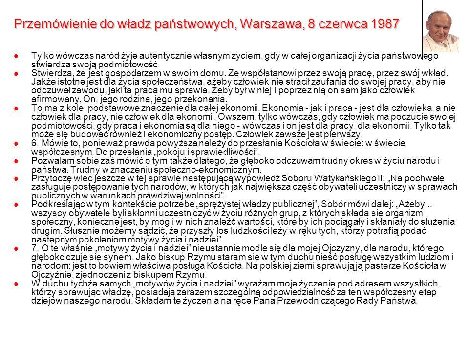 Przemówienie do władz państwowych, Warszawa, 8 czerwca 1987 Tylko wówczas naród żyje autentycznie własnym życiem, gdy w całej organizacji życia państw