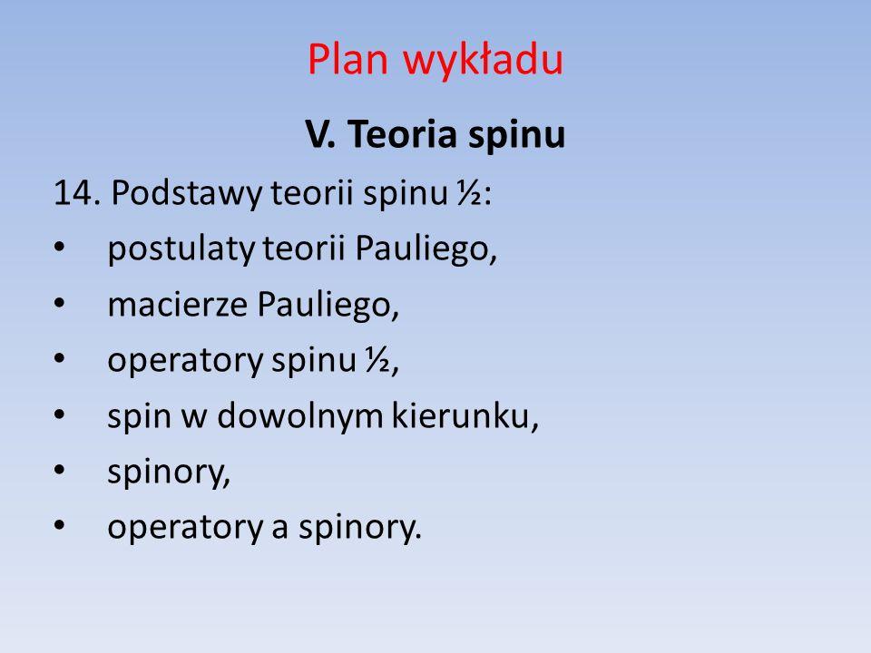 Plan wykładu V. Teoria spinu 14. Podstawy teorii spinu ½: postulaty teorii Pauliego, macierze Pauliego, operatory spinu ½, spin w dowolnym kierunku, s