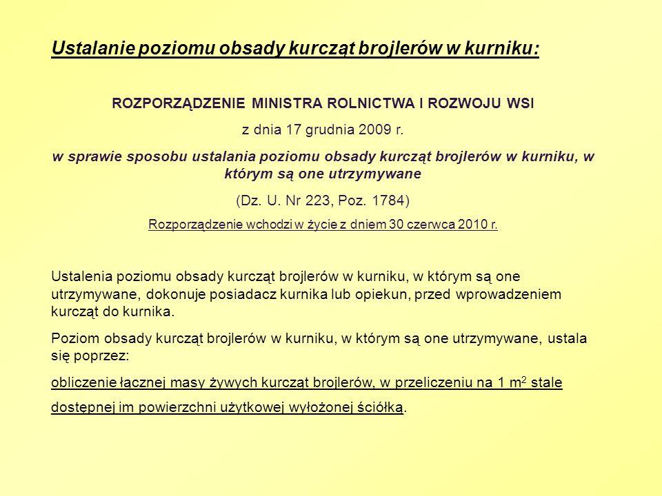 Ustalanie poziomu obsady kurcząt brojlerów w kurniku: ROZPORZĄDZENIE MINISTRA ROLNICTWA I ROZWOJU WSI z dnia 17 grudnia 2009 r. w sprawie sposobu usta