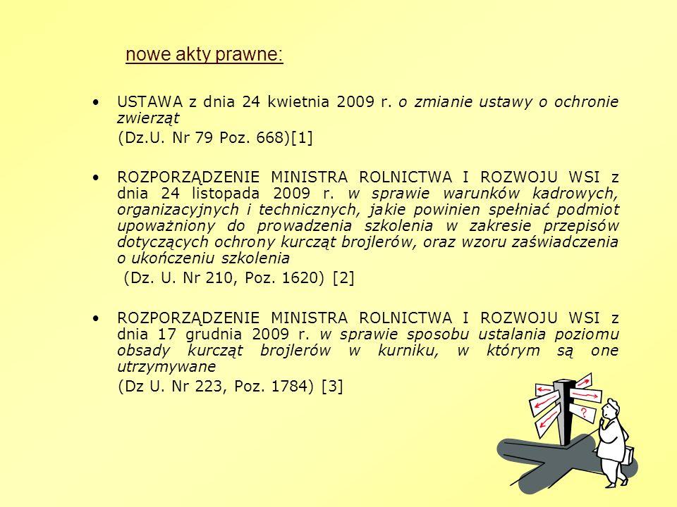 nowe akty prawne: USTAWA z dnia 24 kwietnia 2009 r. o zmianie ustawy o ochronie zwierząt (Dz.U. Nr 79 Poz. 668)[1] ROZPORZĄDZENIE MINISTRA ROLNICTWA I