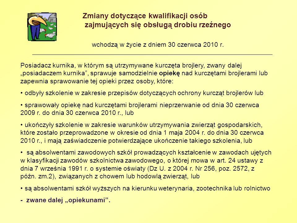 Zmiany dotyczące kwalifikacji osób zajmujących się obsługą drobiu rzeźnego wchodzą w życie z dniem 30 czerwca 2010 r. Posiadacz kurnika, w którym są u
