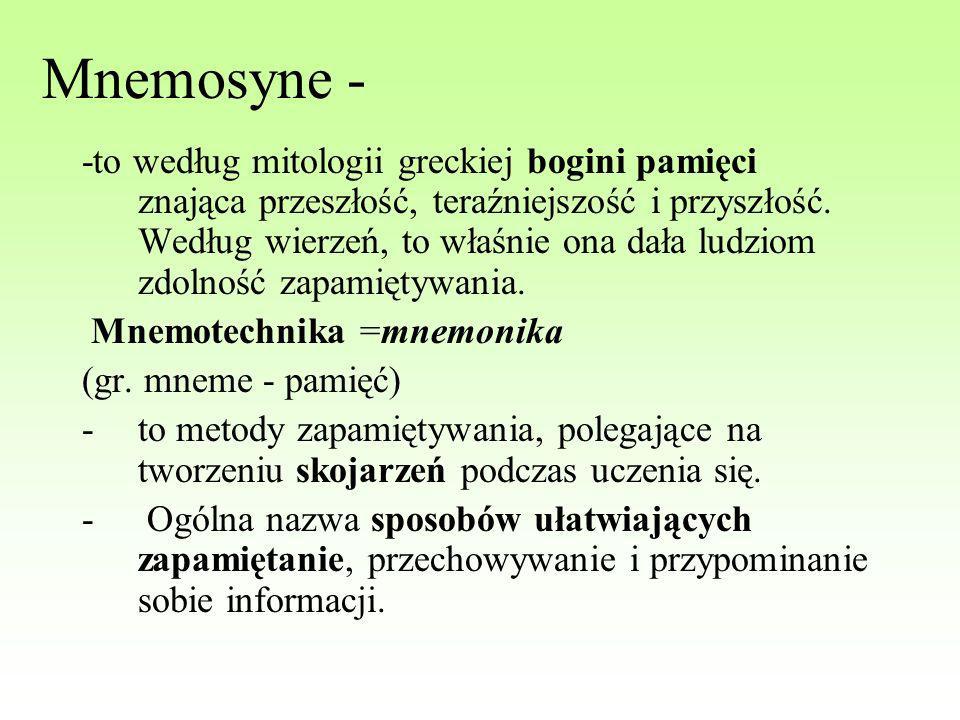 Mnemosyne - -to według mitologii greckiej bogini pamięci znająca przeszłość, teraźniejszość i przyszłość. Według wierzeń, to właśnie ona dała ludziom
