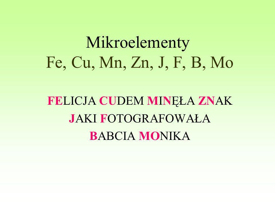 Mikroelementy Fe, Cu, Mn, Zn, J, F, B, Mo FELICJA CUDEM MINĘŁA ZNAK JAKI FOTOGRAFOWAŁA BABCIA MONIKA