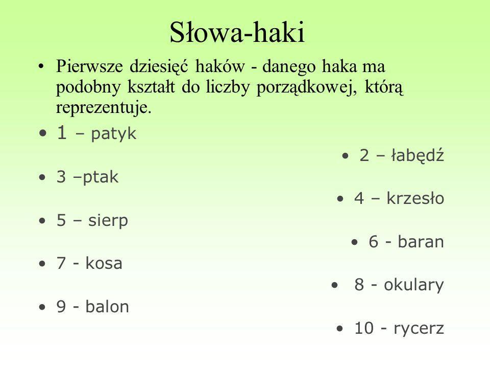 Słowa-haki Pierwsze dziesięć haków - danego haka ma podobny kształt do liczby porządkowej, którą reprezentuje. 1 – patyk 2 – łabędź 3 –ptak 4 – krzesł