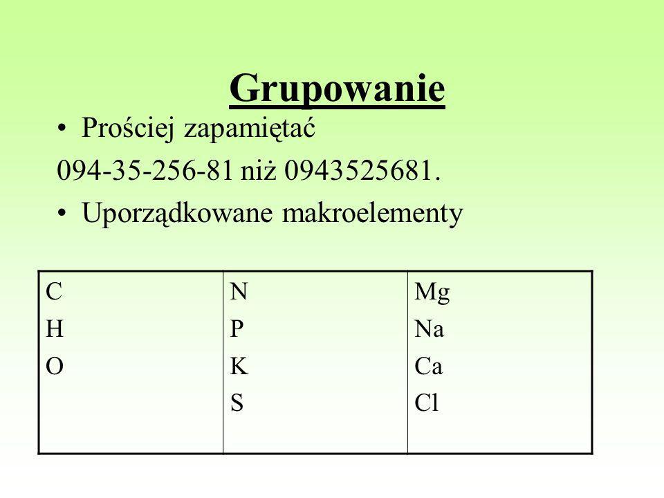 Grupowanie Prościej zapamiętać 094-35-256-81 niż 0943525681. Uporządkowane makroelementy CHOCHO NPKSNPKS Mg Na Ca Cl