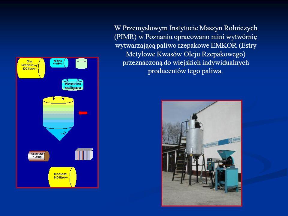 W Przemysłowym Instytucie Maszyn Rolniczych (PIMR) w Poznaniu opracowano mini wytwórnię wytwarzającą paliwo rzepakowe EMKOR (Estry Metylowe Kwasów Ole