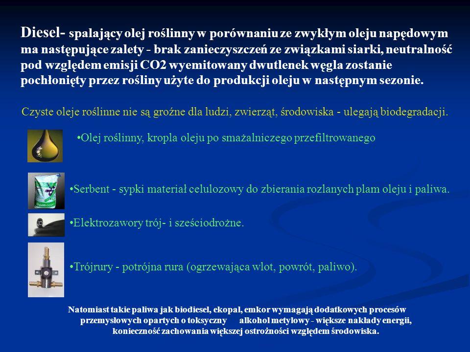 Diesel- spalający olej roślinny w porównaniu ze zwykłym oleju napędowym ma następujące zalety - brak zanieczyszczeń ze związkami siarki, neutralność p