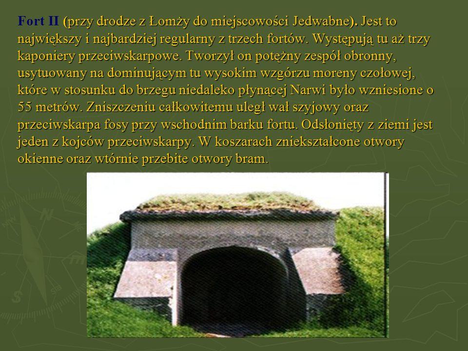 (przy drodze z Łomży do miejscowości Jedwabne). Jest to największy i najbardziej regularny z trzech fortów. Występują tu aż trzy kaponiery przeciwskar