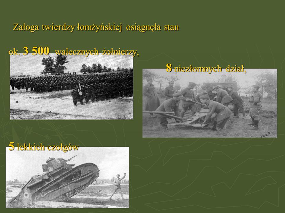 Załoga twierdzy łomżyńskiej osiągnęła stan ok. 3 500 walecznych żołnierzy, 8 niezłomnych dział, 8 niezłomnych dział, 5 lekkich czołgów