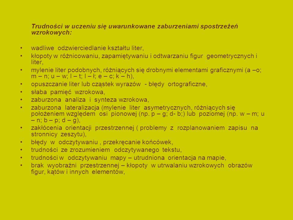 Trudności w uczeniu się uwarunkowane zaburzeniami spostrzeżeń wzrokowych: wadliwe odzwierciedlanie kształtu liter, kłopoty w różnicowaniu, zapamiętywaniu i odtwarzaniu figur geometrycznych i liter, mylenie liter podobnych, różniących się drobnymi elementami graficznymi (a –o; m – n; u – w; l – t; l – ł; e – c; k – h), opuszczanie liter lub cząstek wyrazów - błędy ortograficzne, słaba pamięć wzrokowa, zaburzona analiza i synteza wzrokowa, zaburzona lateralizacja (mylenie liter asymetrycznych, różniących się położeniem względem osi pionowej (np.