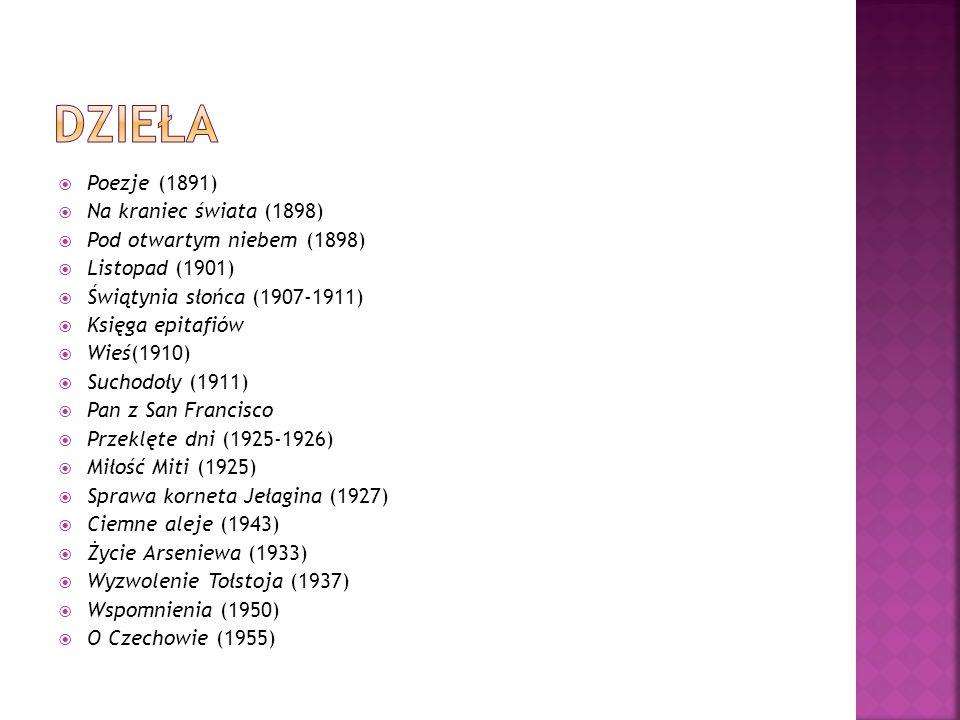 Poezje (1891) Na kraniec świata (1898) Pod otwartym niebem (1898) Listopad (1901) Świątynia słońca (1907-1911) Księga epitafiów Wieś(1910) Suchodoły (