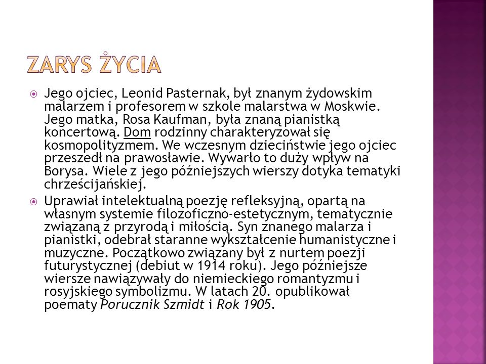 W latach powojennych Pasternak napisał swoją najsłynniejszą powieść, Doktor Żywago (ukończoną w 1954 roku), opowiadającą o przed- i porewolucyjnych losach inteligencji rosyjskiej.