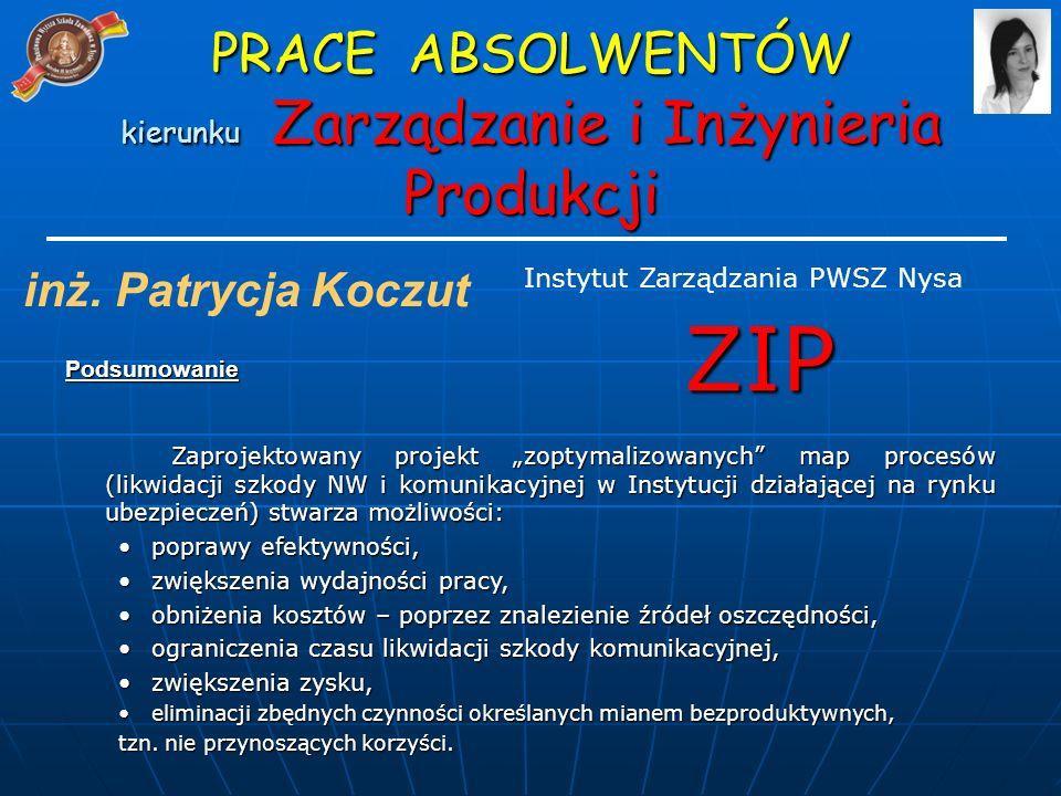 PRACE ABSOLWENTÓW kierunku Zarządzanie i Inżynieria Produkcji ZIP Instytut Zarządzania PWSZ Nysa inż.