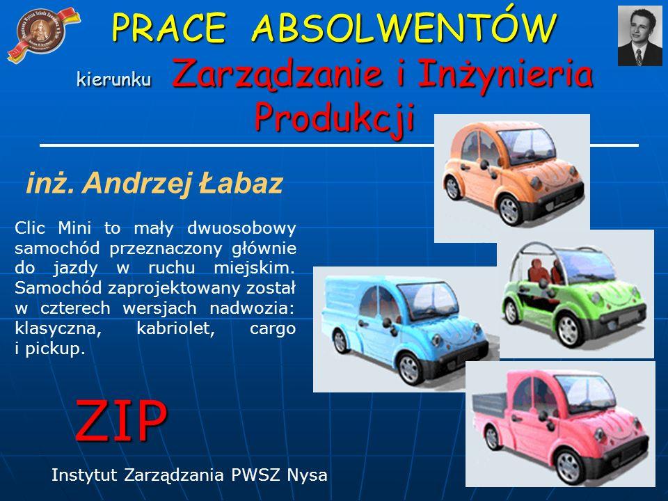 inż. Andrzej Łabaz Clic Mini to mały dwuosobowy samochód przeznaczony głównie do jazdy w ruchu miejskim. Samochód zaprojektowany został w czterech wer