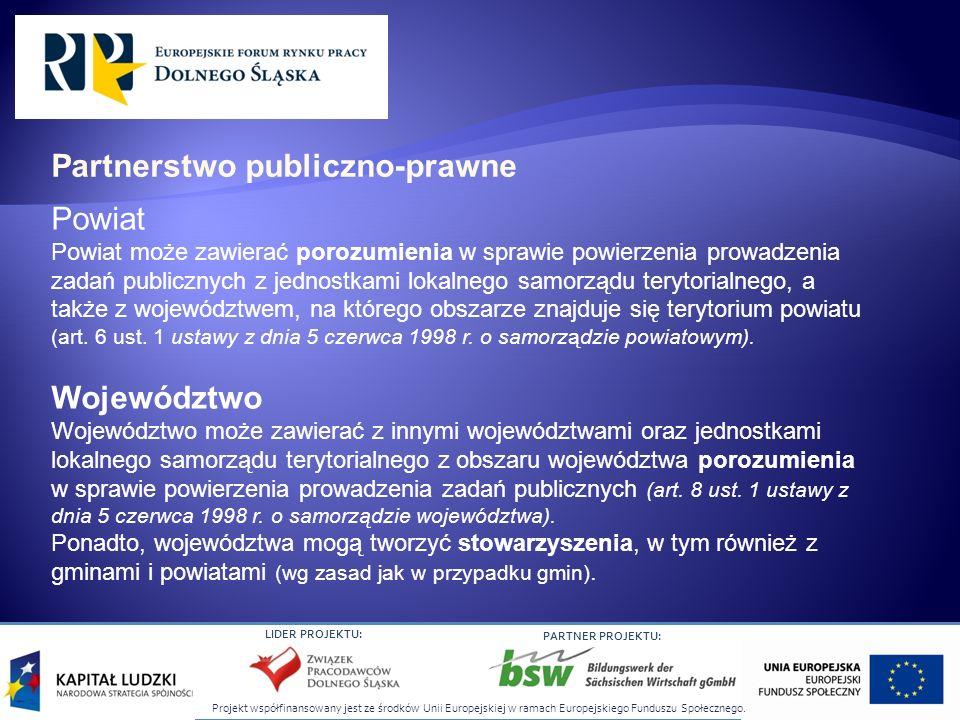 Projekt współfinansowany jest ze środków Unii Europejskiej w ramach Europejskiego Funduszu Społecznego. LIDER PROJEKTU: PARTNER PROJEKTU: Powiat Powia