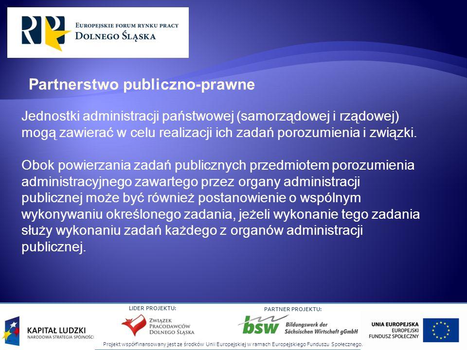 Projekt współfinansowany jest ze środków Unii Europejskiej w ramach Europejskiego Funduszu Społecznego. LIDER PROJEKTU: PARTNER PROJEKTU: Jednostki ad