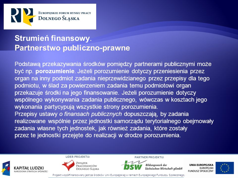 Projekt współfinansowany jest ze środków Unii Europejskiej w ramach Europejskiego Funduszu Społecznego. LIDER PROJEKTU: PARTNER PROJEKTU: Podstawą prz