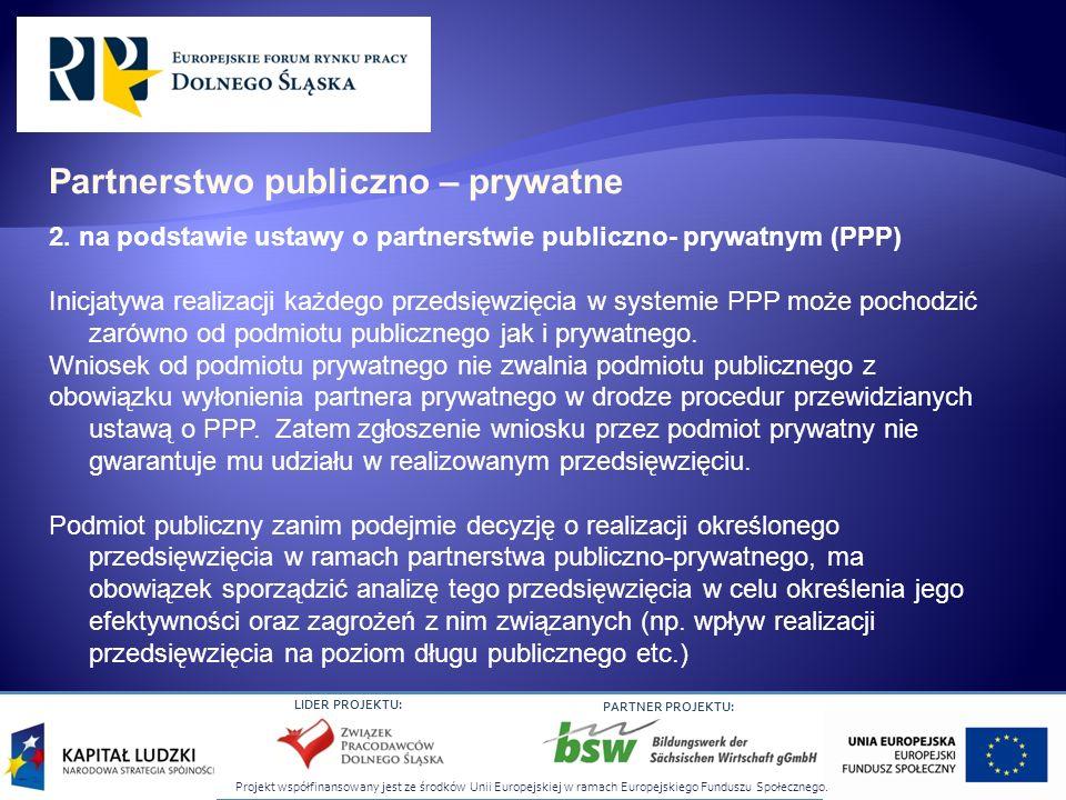 Projekt współfinansowany jest ze środków Unii Europejskiej w ramach Europejskiego Funduszu Społecznego. LIDER PROJEKTU: PARTNER PROJEKTU: 2. na podsta