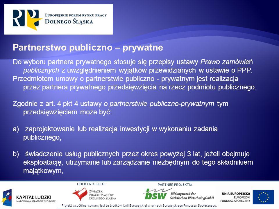Projekt współfinansowany jest ze środków Unii Europejskiej w ramach Europejskiego Funduszu Społecznego. LIDER PROJEKTU: PARTNER PROJEKTU: Do wyboru pa
