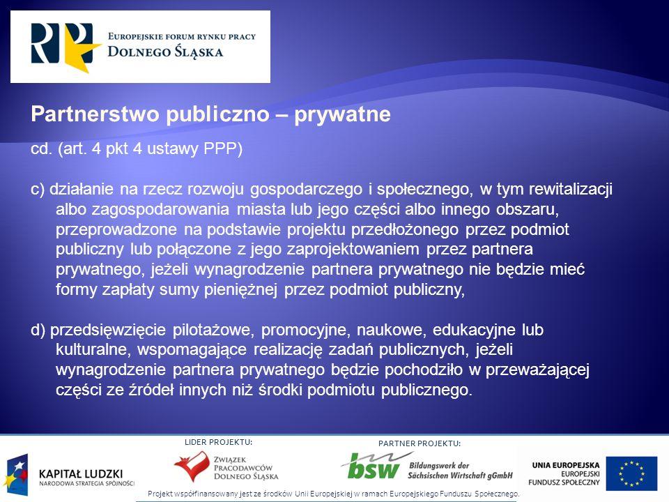 Projekt współfinansowany jest ze środków Unii Europejskiej w ramach Europejskiego Funduszu Społecznego. LIDER PROJEKTU: PARTNER PROJEKTU: cd. (art. 4
