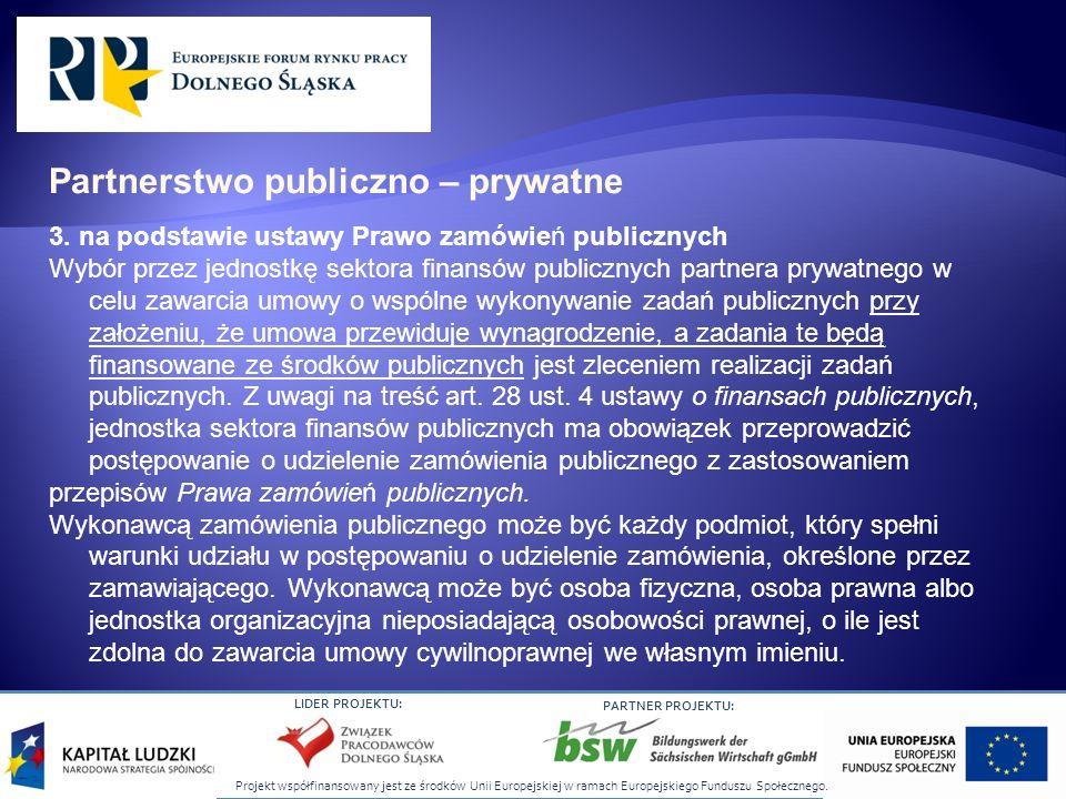 Projekt współfinansowany jest ze środków Unii Europejskiej w ramach Europejskiego Funduszu Społecznego. LIDER PROJEKTU: PARTNER PROJEKTU: 3. na podsta