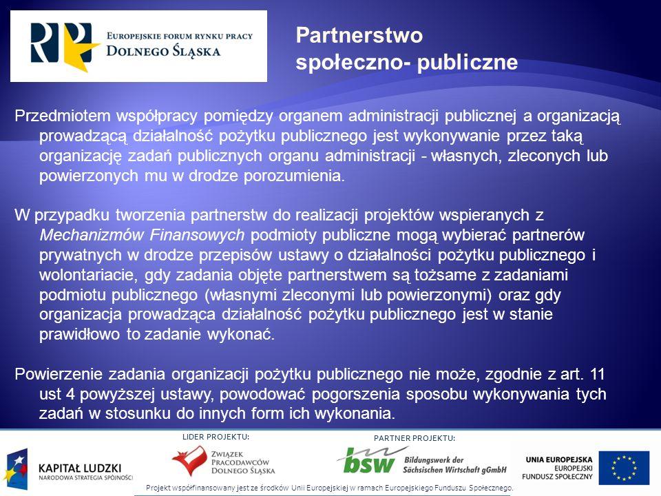 Projekt współfinansowany jest ze środków Unii Europejskiej w ramach Europejskiego Funduszu Społecznego. LIDER PROJEKTU: PARTNER PROJEKTU: Przedmiotem
