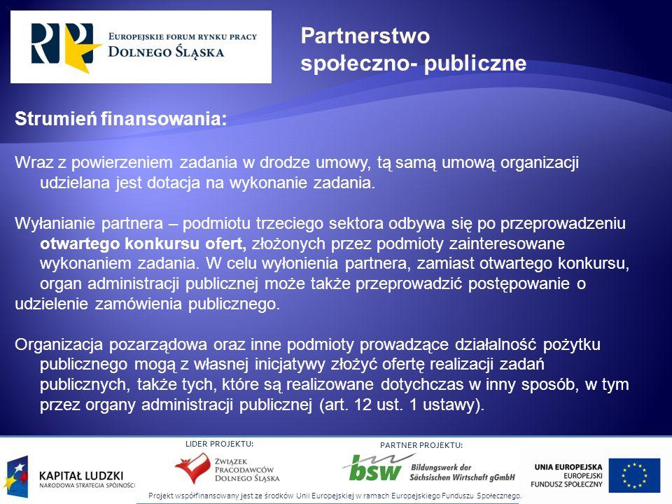 Projekt współfinansowany jest ze środków Unii Europejskiej w ramach Europejskiego Funduszu Społecznego. LIDER PROJEKTU: PARTNER PROJEKTU: Strumień fin