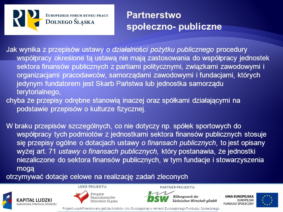 Projekt współfinansowany jest ze środków Unii Europejskiej w ramach Europejskiego Funduszu Społecznego. LIDER PROJEKTU: PARTNER PROJEKTU: Jak wynika z