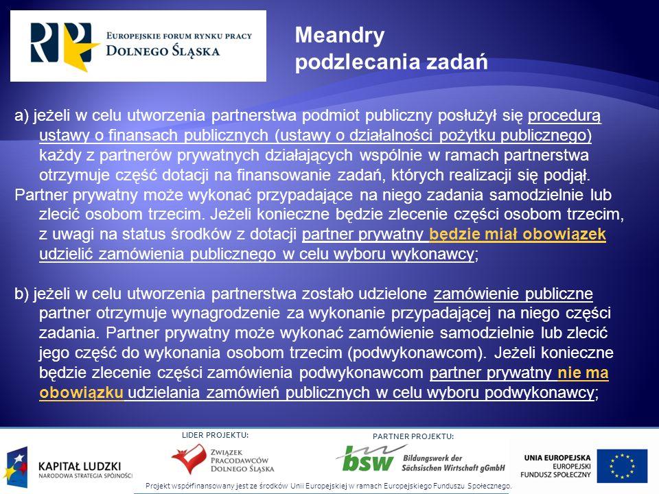 Projekt współfinansowany jest ze środków Unii Europejskiej w ramach Europejskiego Funduszu Społecznego. LIDER PROJEKTU: PARTNER PROJEKTU: a) jeżeli w