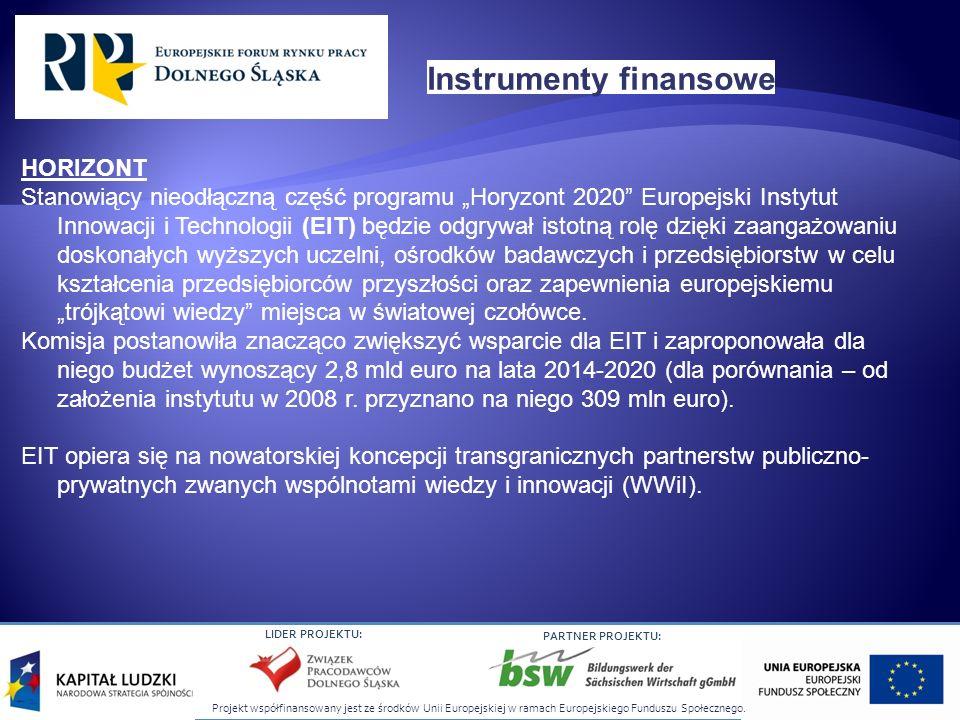 Projekt współfinansowany jest ze środków Unii Europejskiej w ramach Europejskiego Funduszu Społecznego. LIDER PROJEKTU: PARTNER PROJEKTU: HORIZONT Sta