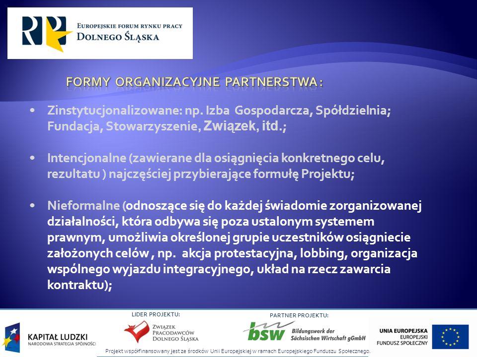 Projekt współfinansowany jest ze środków Unii Europejskiej w ramach Europejskiego Funduszu Społecznego. LIDER PROJEKTU: PARTNER PROJEKTU: Zinstytucjon