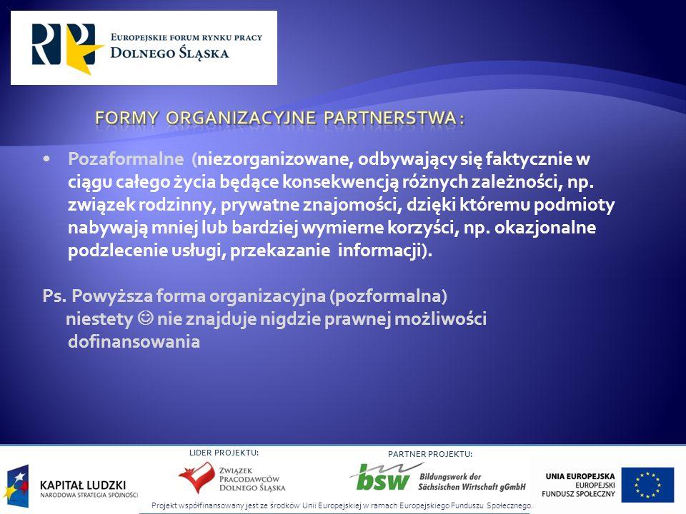 Projekt współfinansowany jest ze środków Unii Europejskiej w ramach Europejskiego Funduszu Społecznego. LIDER PROJEKTU: PARTNER PROJEKTU: Pozaformalne