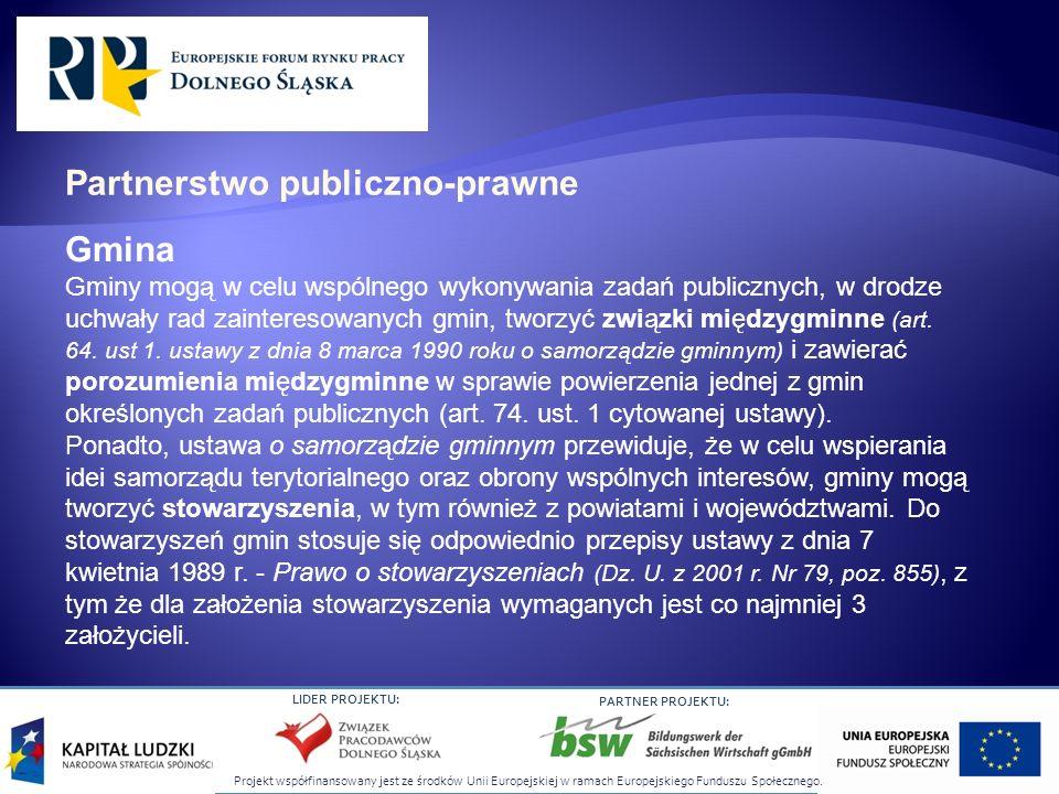 Projekt współfinansowany jest ze środków Unii Europejskiej w ramach Europejskiego Funduszu Społecznego. LIDER PROJEKTU: PARTNER PROJEKTU: Gmina Gminy