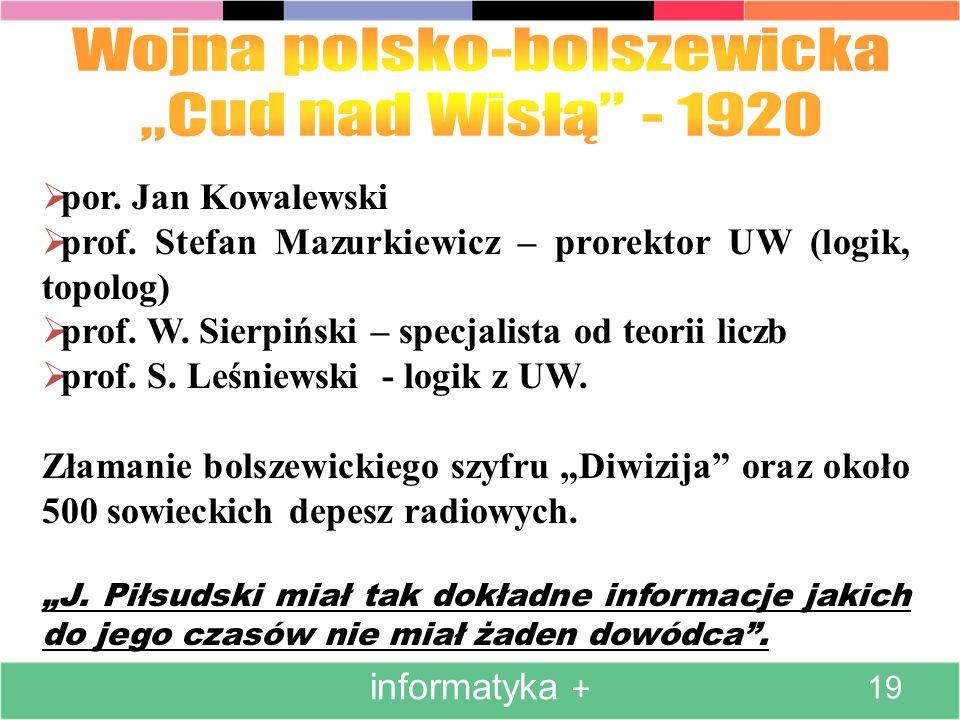 por. Jan Kowalewski prof. Stefan Mazurkiewicz – prorektor UW (logik, topolog) prof. W. Sierpiński – specjalista od teorii liczb prof. S. Leśniewski -