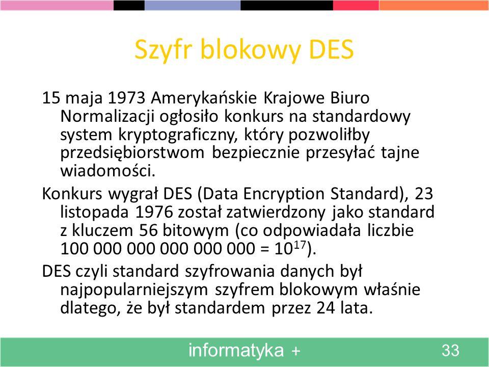 Szyfr blokowy DES 15 maja 1973 Amerykańskie Krajowe Biuro Normalizacji ogłosiło konkurs na standardowy system kryptograficzny, który pozwoliłby przeds