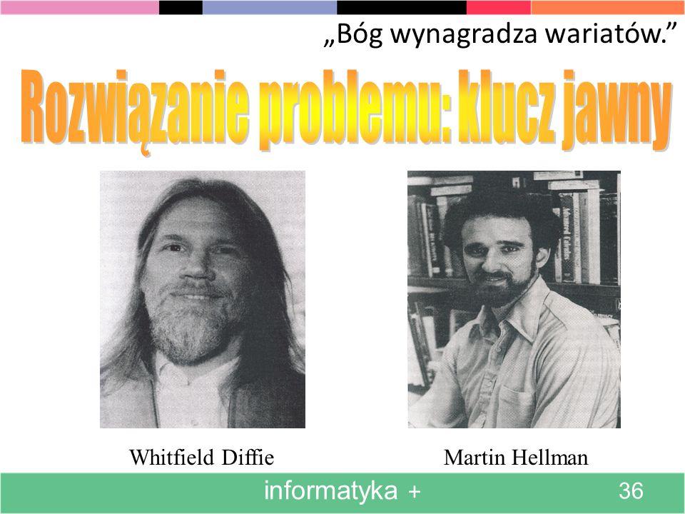 Bóg wynagradza wariatów. Whitfield DiffieMartin Hellman informatyka + 36